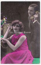 1928 coppia innamorati al telefono foto cartolina d'epoca amore San Valentino