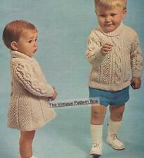 TODDLERS ARAN dress & jumper / 8ply or D.K.- COPY baby knitting pattern