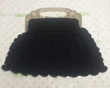 VINTAGE Lucite Peacock Handle Purse Navy Blue Crocheted Gimp Cord