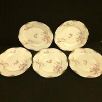 "Warwick China A2002 6"" Bread Butter Plate Lot of 5 Blue Pink Flowers Gold Daubs"