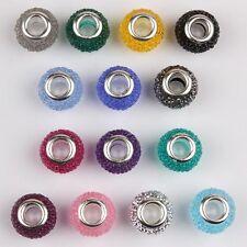 Fashion Round Rhinestone Resin Silver Core DIY Bead fit European Charm Bracelet