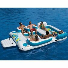Aleko Inflatable Floating Island Lounge 6 person with Cup Holders and Coolers