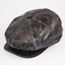 Real Sheep Skin Leather News Boy 8 Panel Gatsby Baker Boy Flat Cap Original