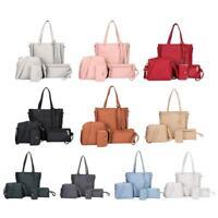 4pcs/Set Women PU Leather Tassel Tote Shoulder Handbag Clutch Card Crossbody Bag