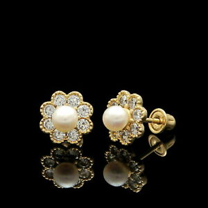1Ct Created Diamond & Pearl Earrings 14k Yellow Gold Flower Studs Screw-Back