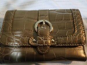 Kathy Van Zeeland Gold Croc Faux Leather Clutch Trifold Wallet