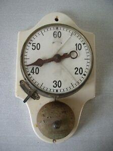 Ancien minuteur mécanique industrielle de métier avec cloche de 25,9 cm