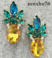 Women Crystal Ear Drop Dangle Stud Ancient Gold long Tassels Pineapple Earrings