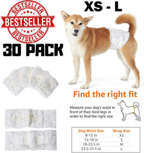 Dog Diapers Disposable Male Pet Wraps Bands Leakproof Wetness Indicator 30 Pack