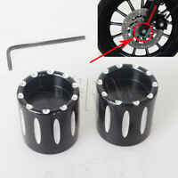 Black Edge Cut Front Axle Cover Cap Nut For Harley FXDL FLHT FLHTK FLTR FXD New