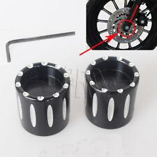 Black Deep Edge Cut Front Axle Cover Cap Nut For Harley FXDL FLHT FLHTK FLTR FXD