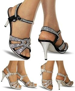 NEW Ladies Party Diamante Ankle Straps Low Mid Heel Shoes Sandals Size A-200