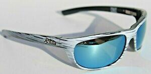 HOBIE Cruz POLARIZED Sunglasses Gray White Driftwood/Cobalt Blue Mirror USLA NEW