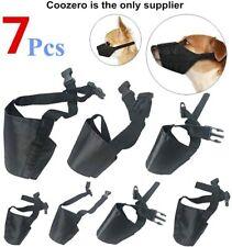 Dog Muzzles Suit Anti-Biting Barking Adjustable Mouth Cover Black Color 7 Pcs