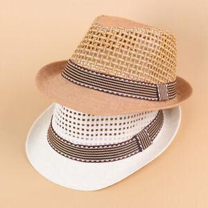Kids Boys Summer Panama Fedora Trilby Straw Sun Hats Jazz Safari Beach Hat Cap
