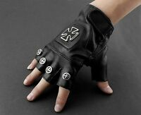 Punk Rocker Driving Motorcycle Chopper Cross Leather Fingerless Men Biker Gloves