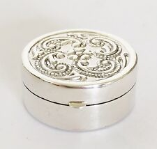 Fine Ladies - 925 Solid Silver - Pill - Trinket , Snuff Box  - Floral Design