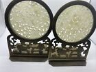 Pair of Chinese Export Carved / Pierced Translucent Jade & Brass Bookends