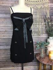Season JS Black Bow Cocktail Button Dress Pin Up Retro Sexy SZ S Small