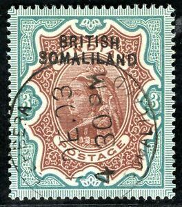 BRITISH SOMALILAND QV SG.12 3r High Value Superb Used 1903 Berbera CDS CBLUE48