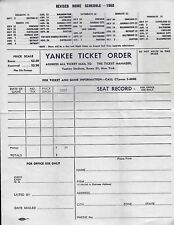 1960 New York Yankees REVISED Home Schedule Ticket Order Form and Envelope