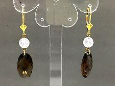 Lovely Vintage 9 ct Gold Smokey Quartz Earrings