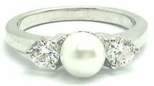 Sterling Silver Creme Pearl Faceted Cz Cubic Zirconia Accent Cocktail Band Ring