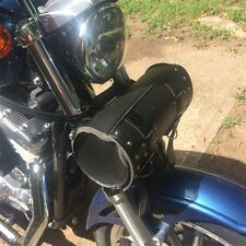 Black Motorcycle Scooter Round Barrel Storage Tool Pouch Handle Bar Bag VB