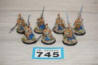 Warhammer Lord of the Rings LOTR Elves Elf Spearmen x 7 - Metal LOT 745