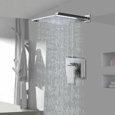 Shower Faucet Combo Set 8 inch Rainfall Shower With Mixer Valve Brushed Nickel