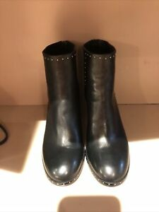 RAG & BONE WILLOW STUDDED BLACK LEATHER BLOCK HEEL ANKLE BOOTS SIZE 41 $550