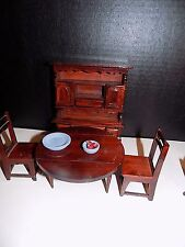 Vintage  Doll House Furniture Dining room  Table 2  Chairs with  hutch
