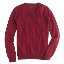 J Crew Medium Merino Wool V Neck Sweater Garnet