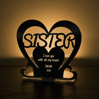 Personalised Tea Light Heart Candle Holder For SISTER Birthday Keepsake Gift