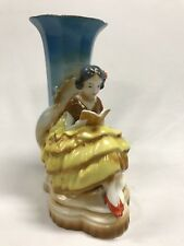 Vintage Unmarked HandPainted China Vase Of A Girl Reading A Book Possibly German