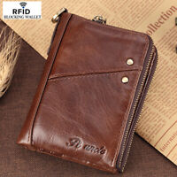 Men's 100% Cowhide Leather Zipper Wallet RFID Blocking Card Holder Coin Purse