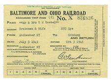 1945 Baltimore and Ohio Railroad Employee Pass