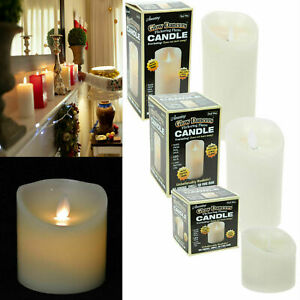 FLICKERING FLAME CANDLE REAL WAX BATTERY OPERATED PILLAR LED TIMER CHURCH IVORY