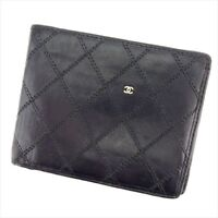 Chanel Wallet Purse Bifold Black leather Woman unisex Authentic Used T8953