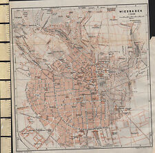 1925 GERMAN MAP ~ WIESBADEN ~ CITY PLAN STATIONS PUBLIC BUILDINGS CHURCHES etc