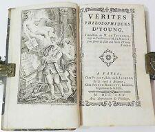 **** VERITES PHILOSOPHIQUES D'YOUNG - TRAD. LE TOURNEUR - VERS PAR MOISSY - 1770