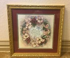 """Home Interiors """"God's Love"""" Picture 16 3/4 Inches Gold Frame Floral Print Matte"""