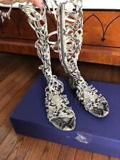 705bb1488 Stuart Weitzman Aphrodite Snake Print Gladiator Sandals 9