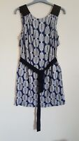 Hoss Intropia Dress Blue and White Geometric Cut Out Back Tied With Belt Size xs