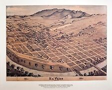 El Paso 1884 Map by Koch Birdseye View - Nice Reproduction