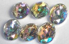 Vintage AB Cabochons, Aurora Borealis, 14x10mm Crystal Western Germany #1319