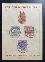 1946 Dessau Germany Postwar Local Stamps Issues Souvenir Sheet Cover Sc#13NB1-3