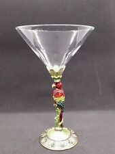 Pewter Jeweled Enamelware / Cloisonne Macaw Parrot Martini Glass - Unique