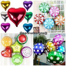 "18"" Heart Shape Foil Fruit Shape Swirl Candy Foil Balloons Round Spot dot baloon"