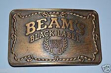 Vintage Jim Beam Whiskey BEAMS Black Label Since 1975 Brass Tone Belt Buckle
